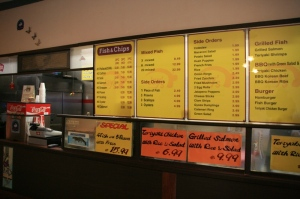Front counter and menu at Jay's in Hayward.
