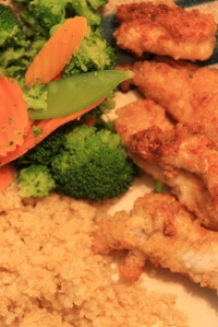 Quinoa, veggies, fried catfish