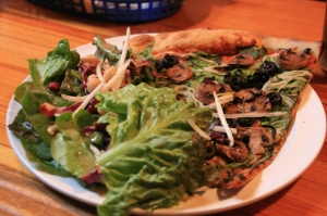 Omnivore pizza and salad