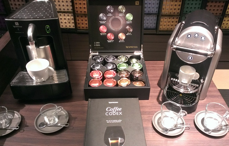 The newest Nespresso machine, debuting in the US later this year. Yeah, we got a preview.
