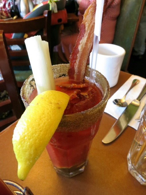 Bloody Mary with bacon. Mother was pleased.