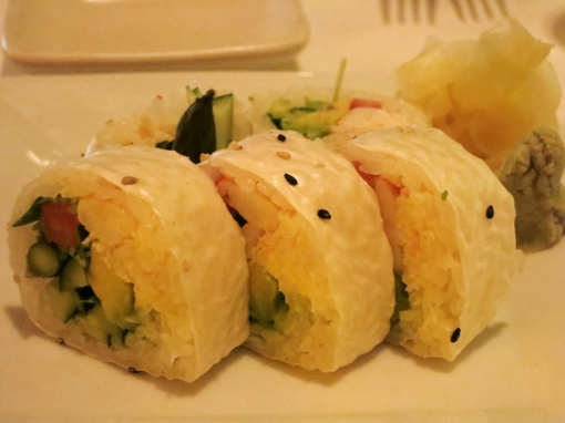 San Francisco Roll: crab, shrimp (cooked), avocado, cucumber, tomato, asparagus, soy paper