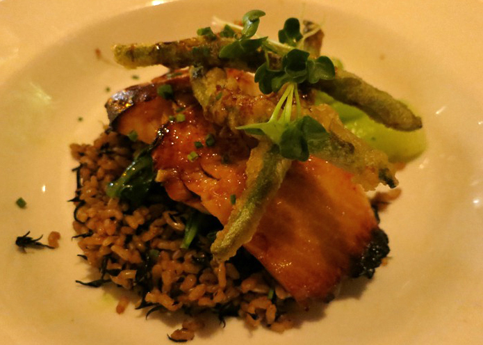 Soy Glazed Local Black Cod: hijiki brown rice, tempura green beans, baby bok choy