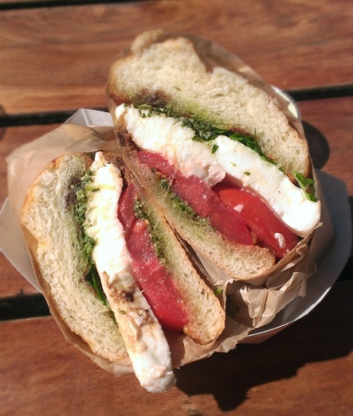 Heirloom Tomato and Mozz Sando