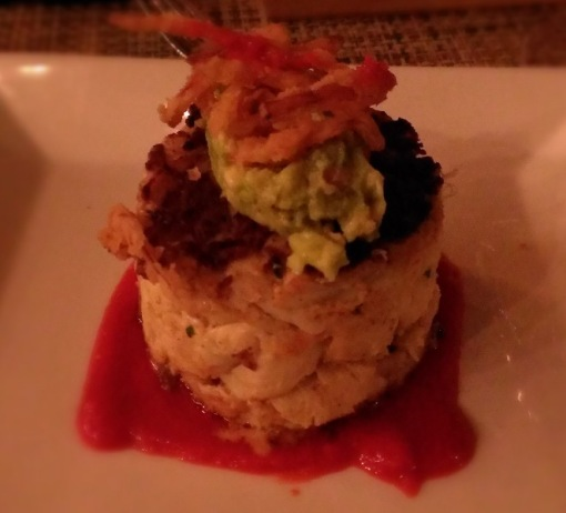 (terrible picture of) crab cake with huge chunks of crab