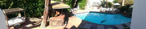 panoramic view of pool and surrounds from outside our room