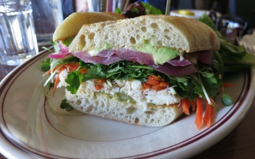 Vietnamese veggie sando with crab