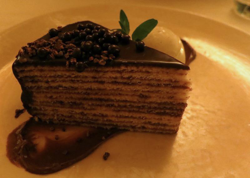 Smith family twelve-layer chocolate cake   with chocolate cremeux, cocoa nib, valrhona pearl crisps - $12