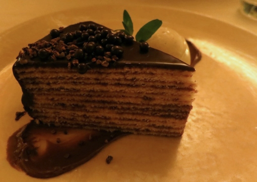 Smith family twelve-layer chocolate cake   with chocolate cremeux, cocoa nib, valrhona pearl crisps - $12