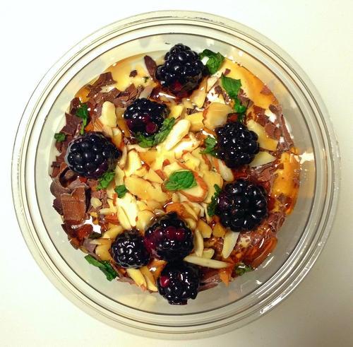Black Diamond (sweet): Greek Yogurt, Blackberry, Dark Chocolate, Almond, Fresh Mint, Sea Salt, Agave Nectar.