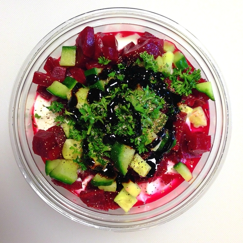 Pink Panther (savory): Greek Yogurt, Beets, Cucumber, Parsley, Balsamic Glaze, Sea Salt & Pepper. photo from jougertbar.com