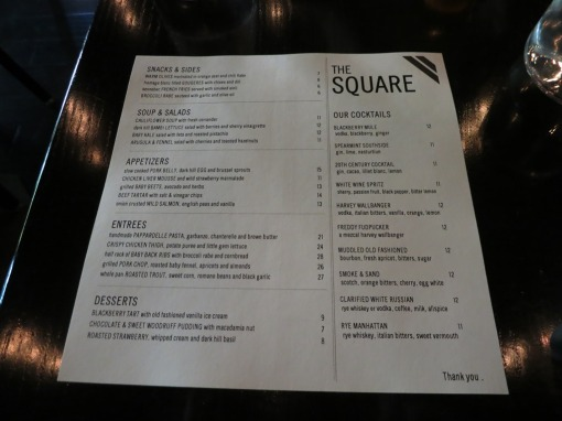 The Square dinner menu June 2014