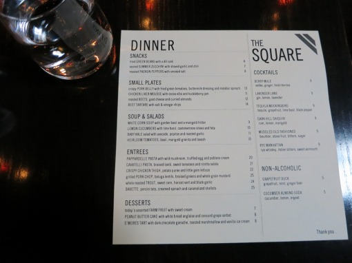 The Square dinner menu August 2014